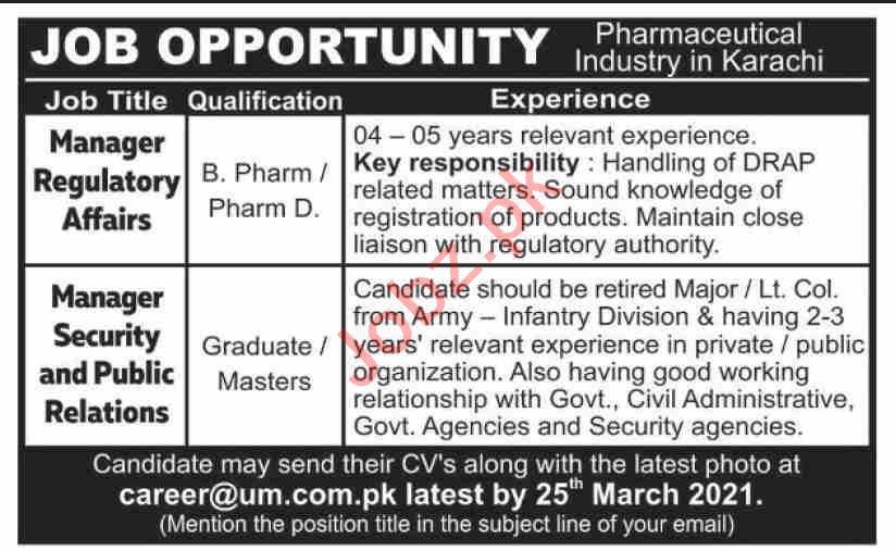 UM Enterprises Karachi Jobs 2021 Manager Regulatory Affairs