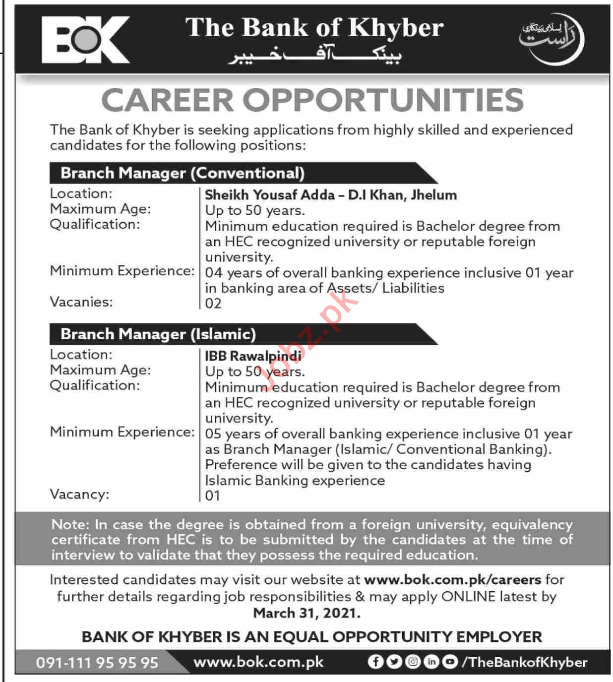 The Bank of Khyber BOK Jhelum Jobs 2021 for Branch Manager