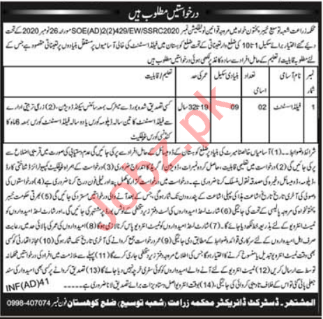 Agriculture Extension Department Kohistan Jobs 2021