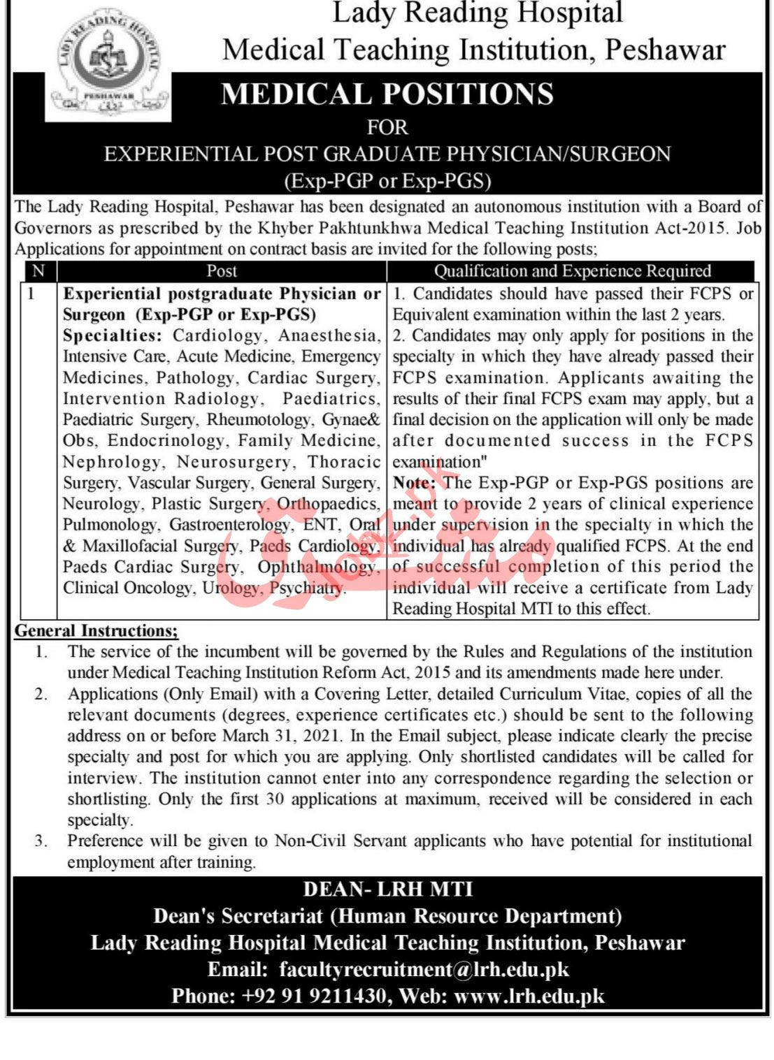 Lady Reading Hospital LRH Peshawar Jobs Medical Specialist