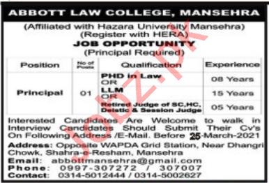 Abbott Law College Mansehra Jobs 2021 for Principal