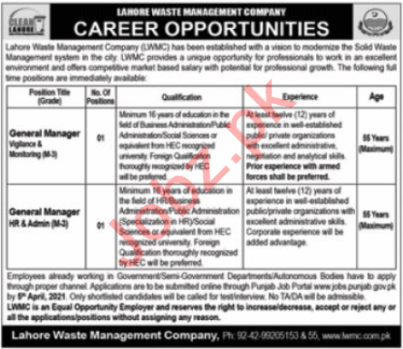 Lahore Waste Management Company LWMC Lahore Jobs 2021