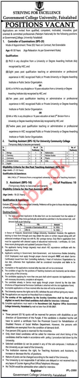 Government College University Faisalabad GCUF Jobs 2021