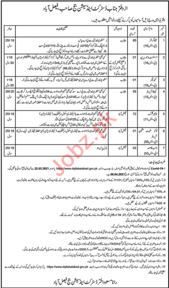District & Session Court Faisalabad Jobs Computer Operator
