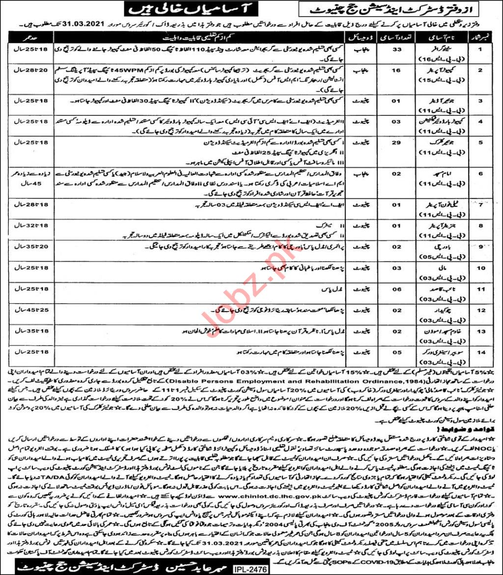 District & Session Court Chiniot Jobs 2021 for Junior Clerks