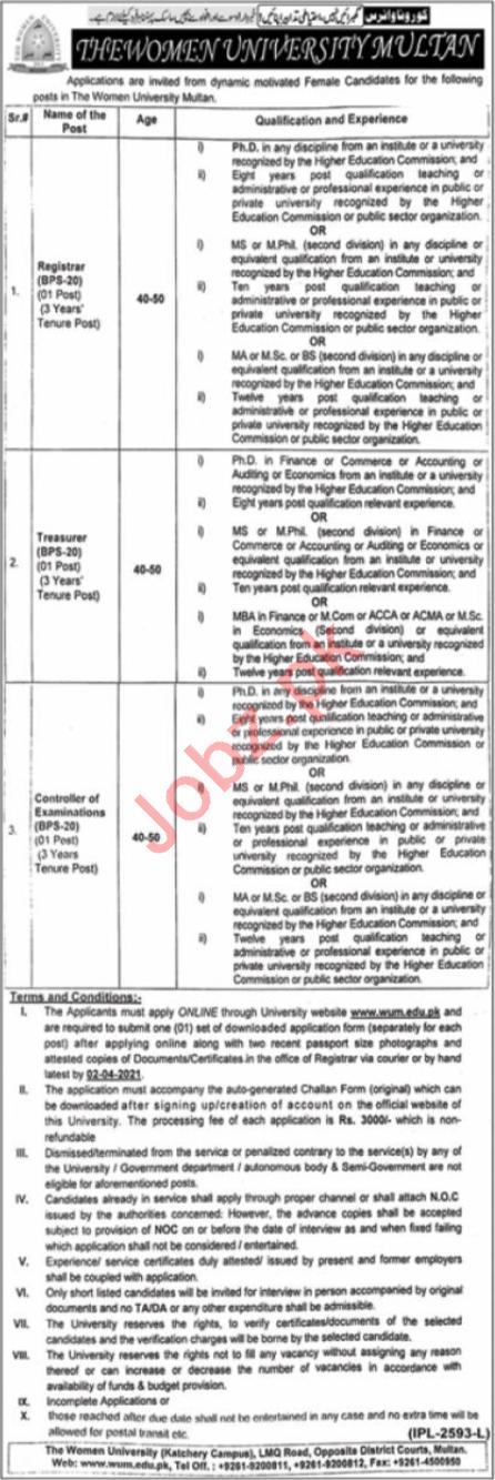 Women University Multan WUM Jobs 2021 for Registrars