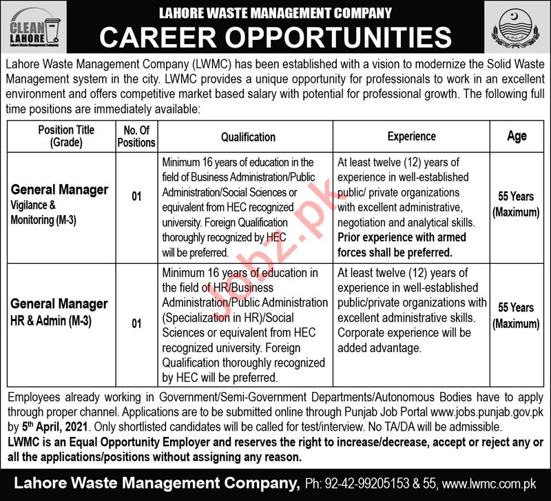 Lahore Waste Management Company LWMC Jobs for Managers