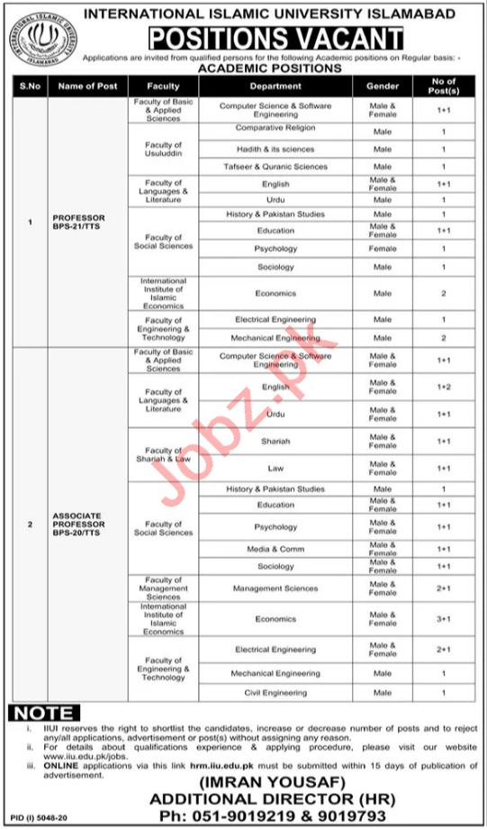 International Islamic University Islamabad IIUI Jobs 2021