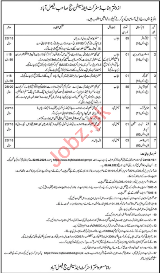 District & Session Court Faisalabad Jobs 2021 Junior Clerks