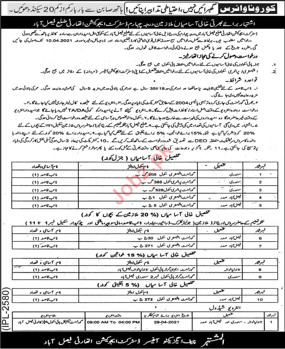 District Education Authority DEA Faisalabad Jobs 2021