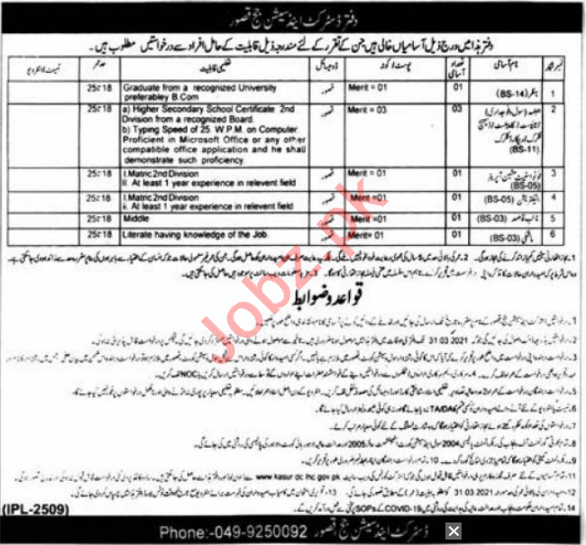 District & Session Court Kasur Jobs 2021 for Accountant