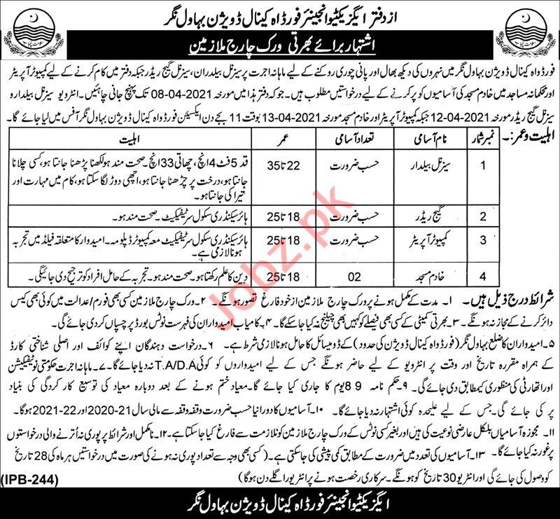 Ford Wah Canal Division Bahawalnagar Jobs 2021 for Baildar