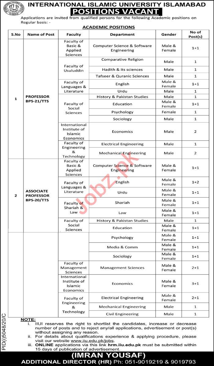International Islamic University Islamabad IIUI Faculty Jobs