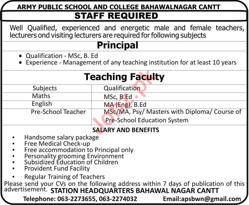 Army Public School & College APS&C Bahawalnagar Jobs 2021
