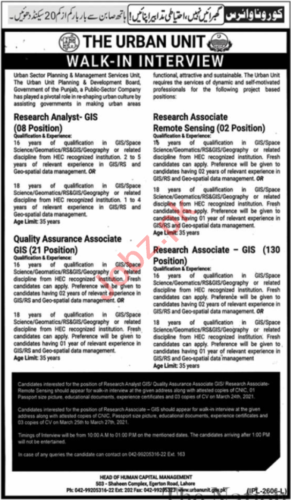 The Urban Unit Lahore Jobs Interview 2021 Research Analyst