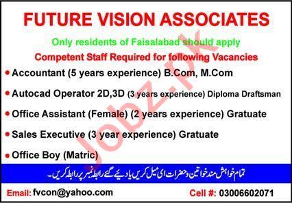 Future Vision Associates Faisalabad Jobs 2021 for Accountant
