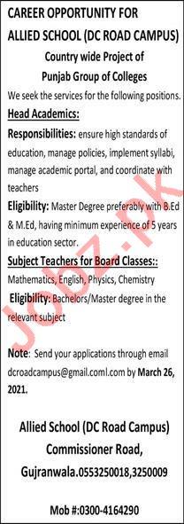Allied School DC Road Campus Gujranwala Jobs 2021