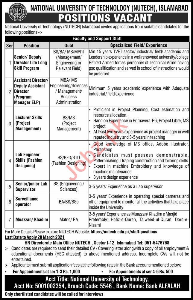 Deputy Director Jobs 2021 in NUTECH University Islamabad
