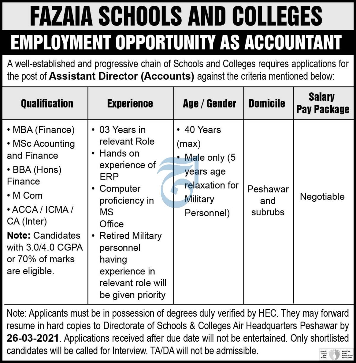 Fazaia Schoolls and Colleges Jobs 2021