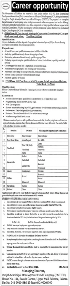 Punjab Municipal Development Fund Company Jobs via NTS