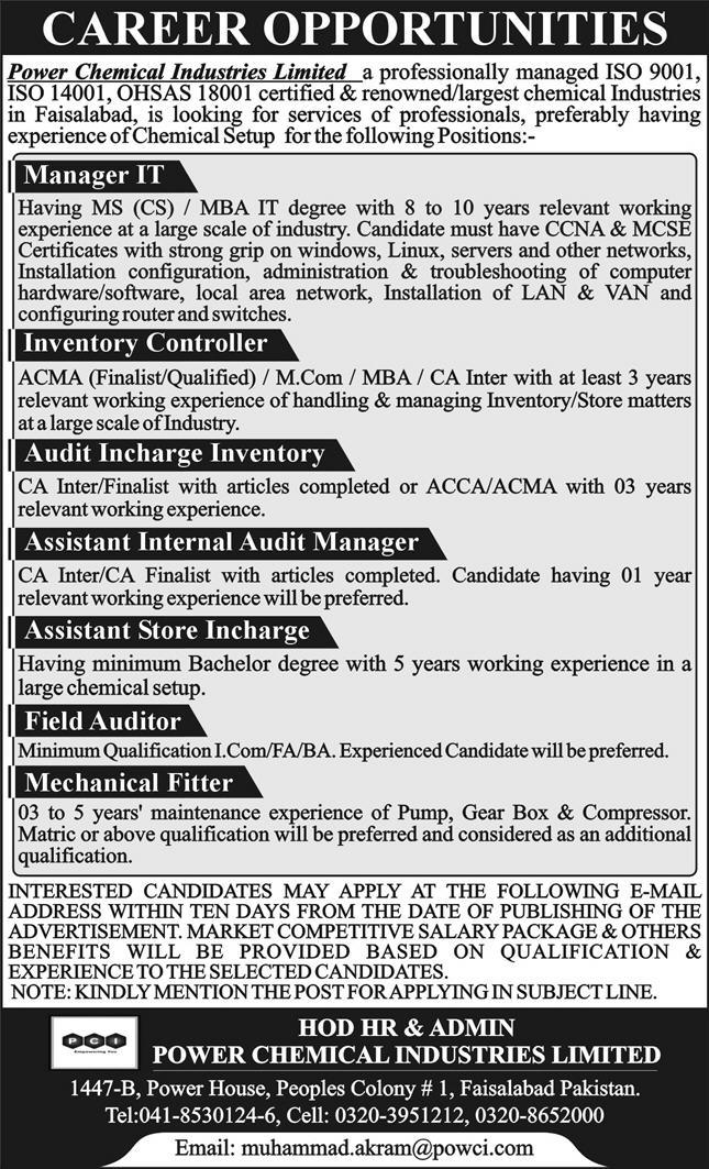 Power Chemical Industries Limited Jobs 2021