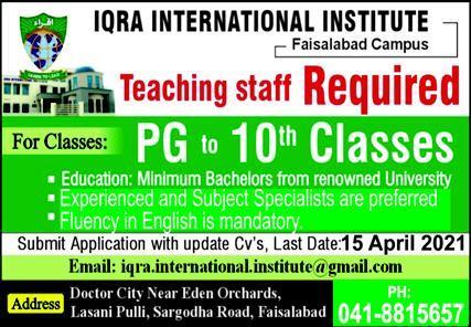Iqra International Institute Jobs 2021 in Faisalabad