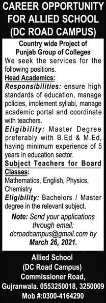 Allied School Gujranwala Jobs 2021