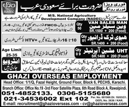 Ghazi Overseas Employment Jobs 2021 in Saudi Arabia