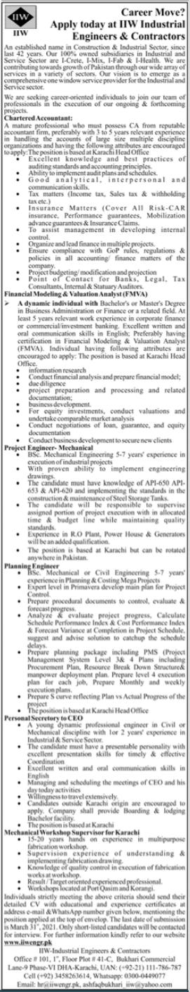 IIW Industrial Engineers and Contractors Jobs 2021