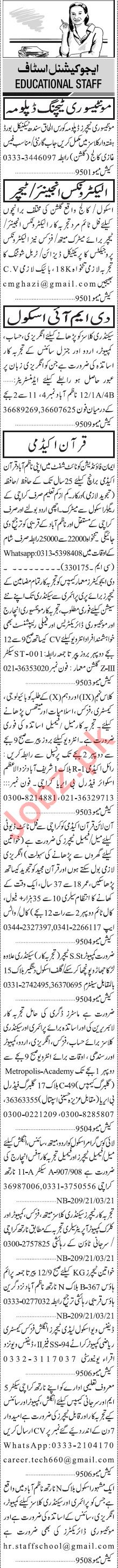 Jang Sunday Classified Ads 21 March 2021 for Teaching Staff