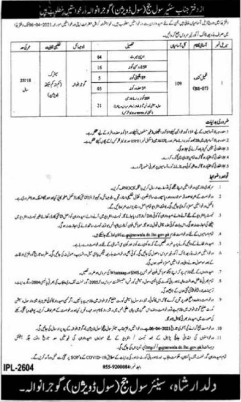 Senior Civil Judge Office Jobs 2021 in Gujranwala