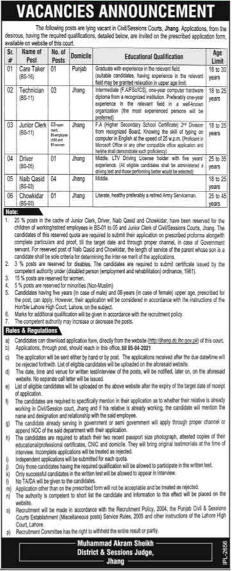 District & Session Judge Office Jobs 2021 in Jhang