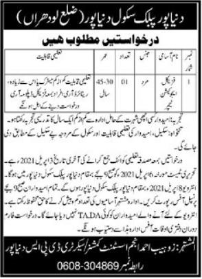 Dunyapur Public School Job 2021 For Teaching Staff