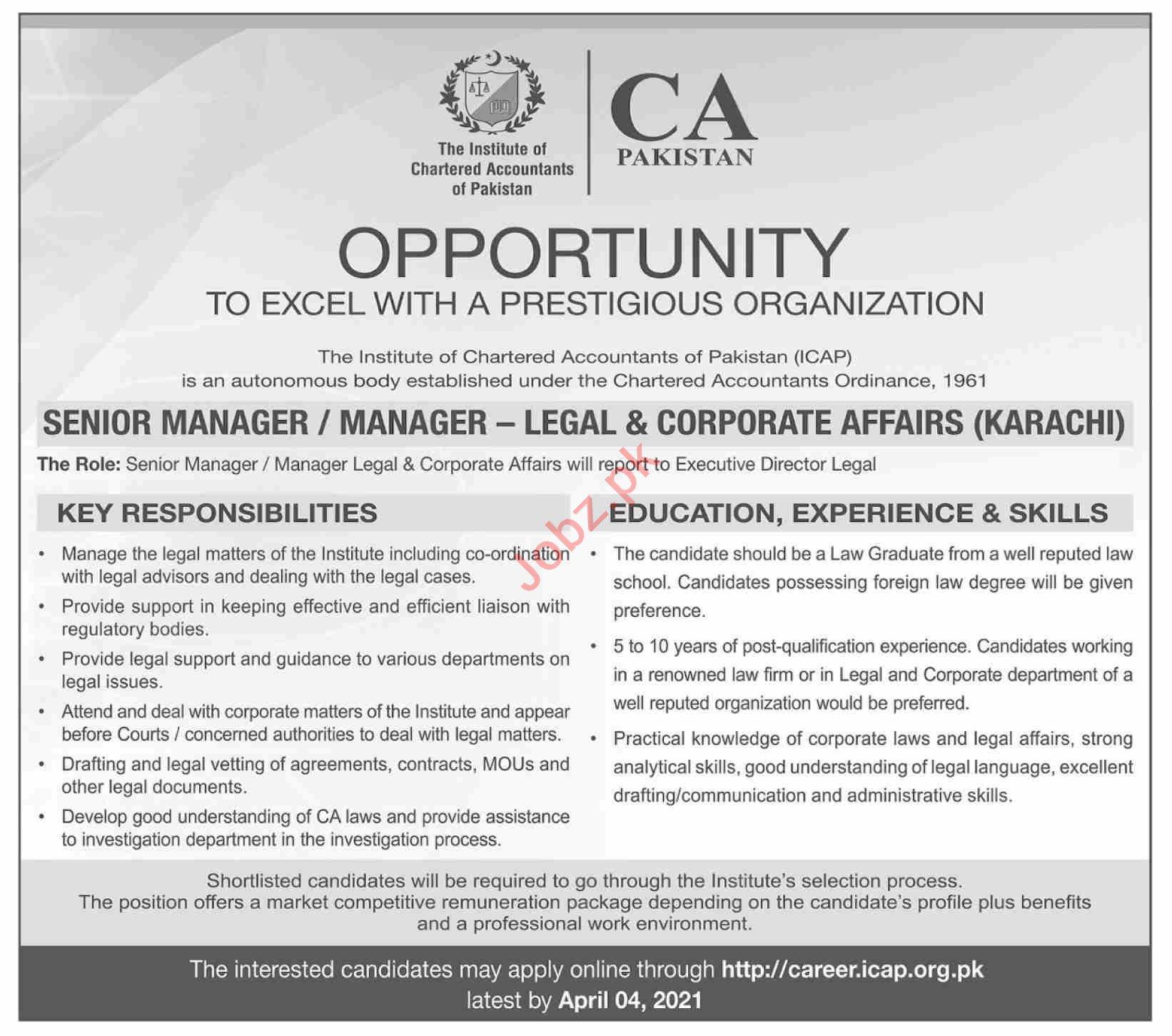 CA Pakistan Jobs 2021 for Senior Manager Legal Affairs