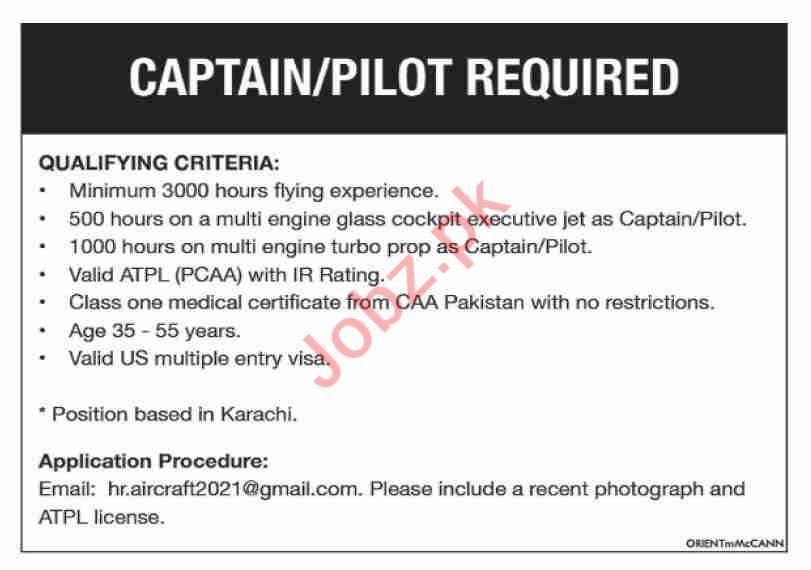Captain & Pilot Jobs 2021 in Karachi