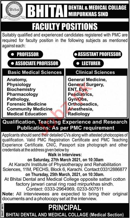 Bhitai Dental & Medical College Mirpurkhas Jobs 2021