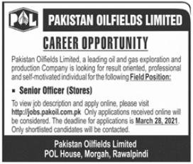 Senior Officer Stores Job 2021 in Rawalpindi