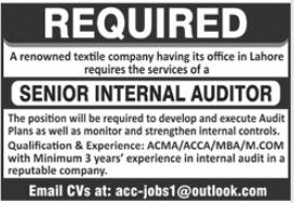 Senior Internal Auditor Job 2021 in Lahore Office