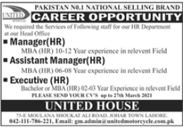 United Motorcycle Company Jobs 2021 in Lahore