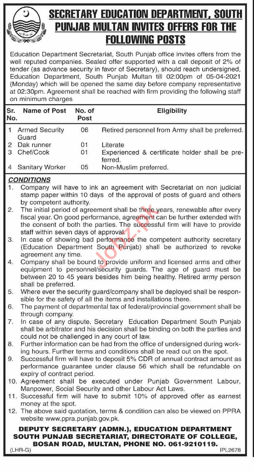 Directorate of Colleges South Punjab Jobs 2021 for Cook