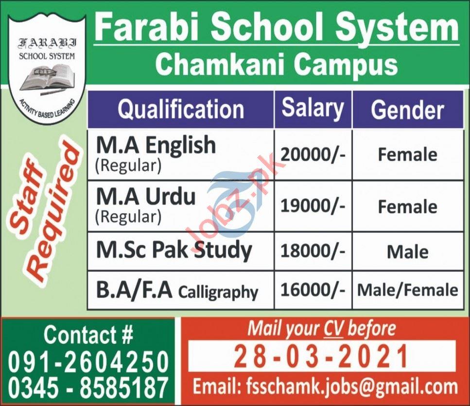 Farabi School System Chamkani Campus Peshawar Jobs 2021