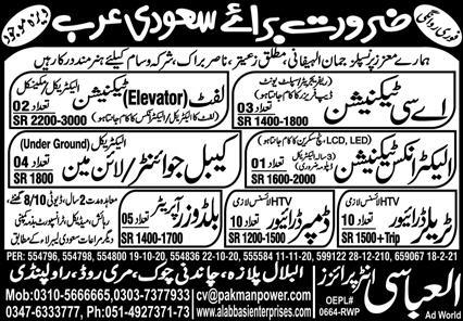 Elevator Technician & Cable Jointer Jobs 2021 in KSA