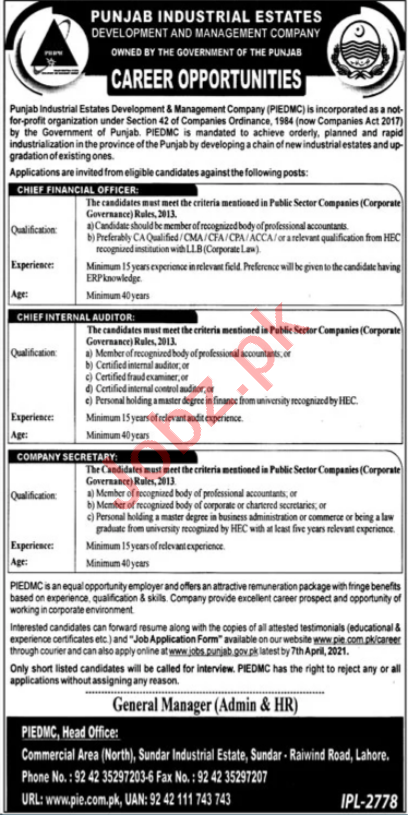 Punjab Industrial Estates Development PIEDMC Lahore Jobs