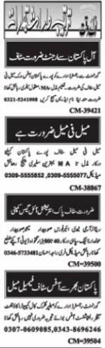 Daily Nawaiwaqt Newspaper Classified Jobs 2021 in Islamabad