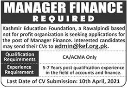 Kashmir Education Foundation NGO Job 2021 in Rawalpindi