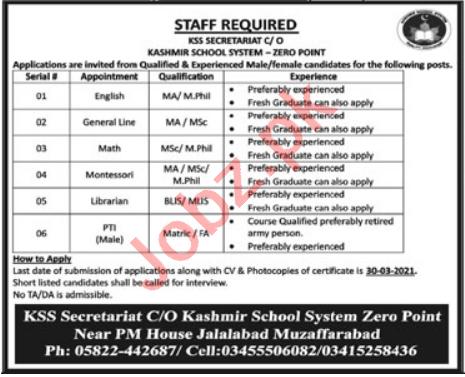 Kashmir School System KSS Zero Point Muzaffarabad Jobs 2021