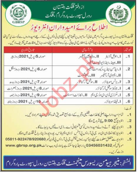 Gilgit Baltistan Rural Support Programme GBRSP Jobs 2021
