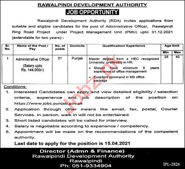 Rawalpindi Development Authority RDA Jobs 2021