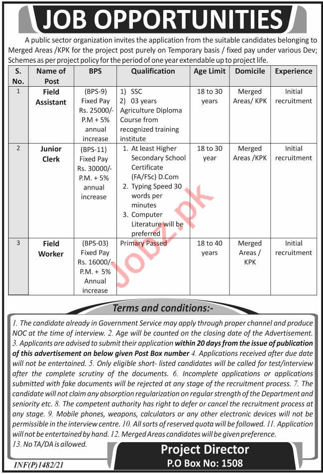 P O Box No 1508 Peshawar Jobs 2021 for Field Assistant