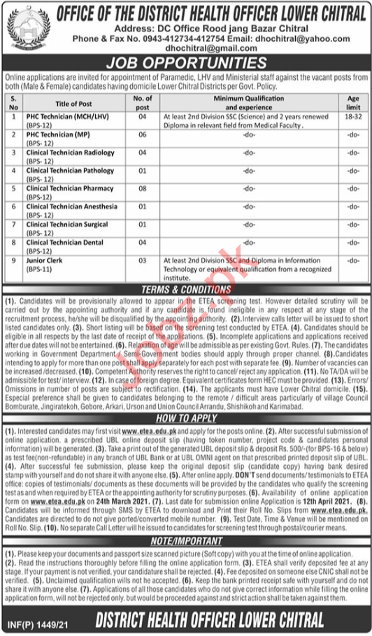 Health Department Lower Chitral Jobs for Clinical Technician